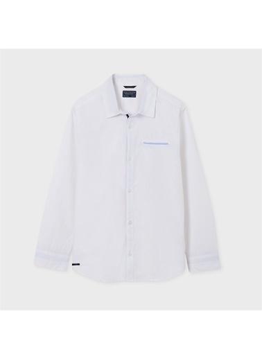 Mayoral Mayoral Erkek Çocuk Uzun Kollu Gömlek Mavi 20373 Beyaz